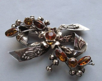 On Sale Hobe Flower 14K Gold On Sterling Silver Antique Brooch Jewelry Citrine Glass Circa 1940
