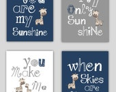 Navy Blue Nursery  // You are my sunshine Navy Blue and Gray Art Prints // Navy Nursery Decor // Navy Blue Nursery Wall Art // PRINTS ONLY