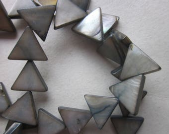 Gray Triangle Mother of Pearl Shell Beads 12mm 10 Beads