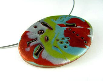 Polymer Clay Jewelry Mokume Gane Polymer Clay Necklace Stamped Necklace Copper Turquoise Lime Green Silver