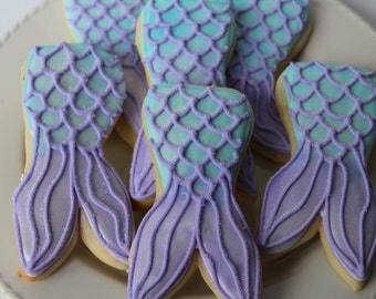 Mermaid Cookies - mermaid party -  mermaid birthday - under the sea baby shower - mermaid favors - sugar cookies - mermail tail - cookies