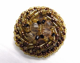 "An Elegant Mix: 1-1/2"" (38mm) Beaded Vintage Button in Complimentary Gold, Amber, Black and Champagne Colors"