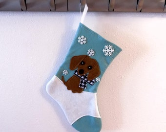 Brown Dachshund Dog Personalized Christmas Stocking by Allenbrite Studio