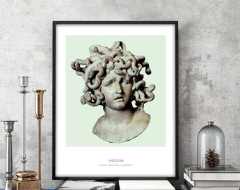 Medusa | Portrait of Medusa, Mythology, Medusa Bust, Medusa Photo, Medusa Art Print, Modern Home Decor, Green and White, Medusa Bust Print