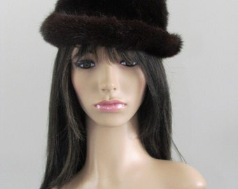"Vintage Stylish 1970's Dark Brown ""Bolo "" Genuine MINK FUR HAT  Excellent Condition"