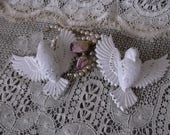 Vintage Shabby Romantic Cottage Birds PAIR, creamy white, distressed, small wall accents