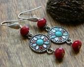 Southwestern earrings long earrings dangle earrings blue red earrings colorful earrings south west style bohemian jewelry unique gift