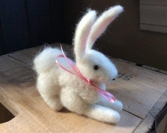 White Wool Bunny Needle Felted