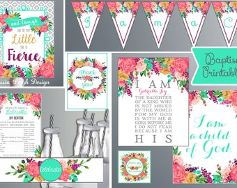 Baptism Quotes Printable Decorations - Teal and Pink - Baptism Decorations  -  Watercolor Flowers (Instant Download)
