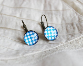 15% OFF Retro chequered blue and white earrings, antique gold, checkered, paned, simple dangle, squares, glass cabochon earrings, baby blue