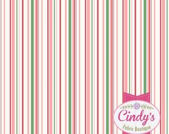 Berries & Blossoms Maywood Studio Pink mulit Stripe cotton quilt fabric #MAS8837-P