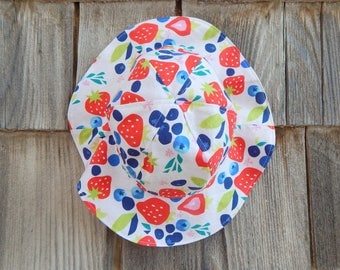 Red, White and Blue Girl Sun Hat, 12 to 24 Month Girl Sun Hat, Reversible Sun Hat