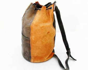 Vintage Leather Bucket Bag Distressed Soft Leather
