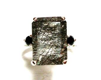 "Rutilated quartz ring, rutilated ring, quartz, 3 stone ring, black cocktail ring,  s 6 1/2   ""Black Lightning"""