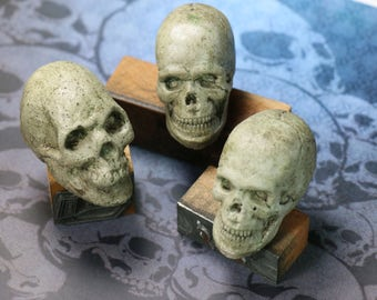 1 Cast Cement Miniature Skull