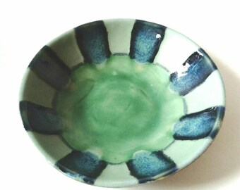 SALE.. Ceramic Pottery Bowl Dish: Handmade stoneware pottery in blues and greens