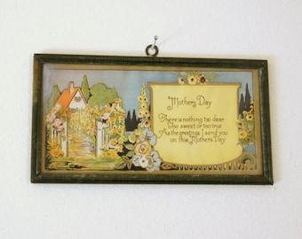 Vintage Framed Motto, Mother's Day Print, Cottage Chic Decor, Garden Art