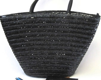 Vintage Enormous Black Straw Tote Beach Bag Cappelli Purse