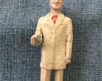 Vintage chalkware miniature diorama museum man dr pharmacist lab coat