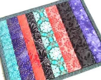 Quilted Mug Rug, Colorful Candle Mat, Teal Coral Black Purple