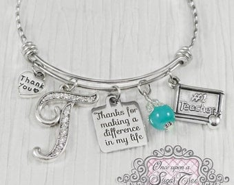 Personalized Teacher Gift, Bangle Bracelet-Teacher Appreciation-Thank you for making a difference Gift, #1 Teacher charm, Thank you Charm