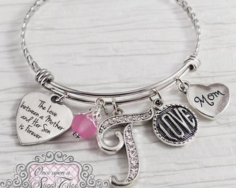 Mom from Son- Gifts for Mom- Personalized Bangle Bracelet-The love between mother and son is forever, Love, Valentines Day Gifts, Mother