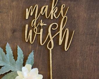 Make a Wish Cake Topper, Birthday Cake Topper, Modern Calligraphy Cake topper, Laser Cut Cake Topper, Gold Cake Topper, Silver Cake Topper