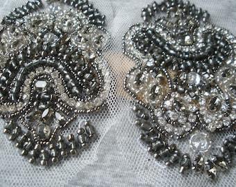 Beaded & Rhinestone Applique Embellishments on black white Purple tulle neckline epaulets Embellish Tshirt bridal bling purse gunmetal gray