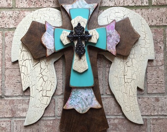 Wood Wall Cross Turquoise Angel Wings Large