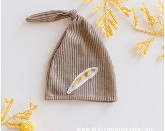 Newborn Knot Hat /Newborn Hat Prop  / Night Cap Hat / Feather Hat
