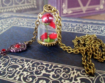 Beauty and the Beast Tribute Necklace (N703) Rose under Glass Dome and Magic Hand Mirror Pendants, Brass Chain