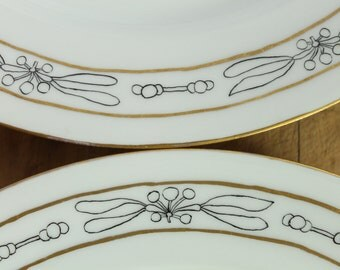 Vintage GDA France Limoges Art Nouveau Art Deco Botanical Gold Trim Porcelain Dinner Plates 4