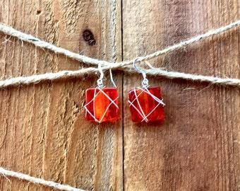 Wire Wrapped Czech Glass Beaded Earrings, handmade, handmade jewelry, Christmas, birthday, anniversary, gifts for her, mom, girlfriend, wife