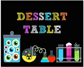 Science Party Desert Table Sign Printable - Instant Download - Super Science Collection