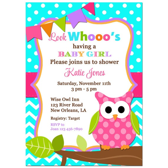 Girl owl baby shower invitation printable or printed with free il570xn filmwisefo