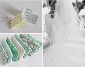 Team Bride Lace Set of 7 Wedding Clutches for Bride and Bridesmaids ON A BUDGET Gifts, Asking Will You Be My Bridesmaid