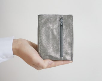Leather Trifold Wallet Taupe Metallic , small wallet, flat wallet, womens wallet