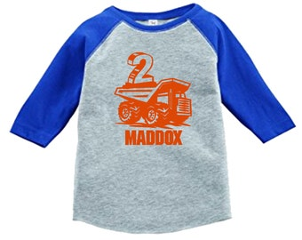 Birthday Dumptruck Shirt - 3/4 or long sleeve relaxed fit raglan baseball shirt - Any age and name - pick your colors!