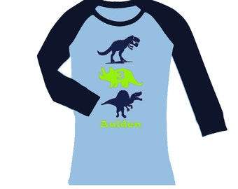 Personalized Dinosaur Birthday Shirt -Up to three dinos  -  cropped/long sleeve fitted raglan shirt - any age and name - pick your colors!