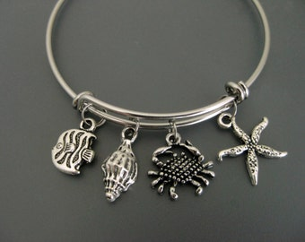 Crab Bracelet / Crab Bangle / Shell Bracelet  / Sea Star  Bangle / Beach Bracelet/ Charm Bracelet / Adjustable Bangle / Expandable Bangle