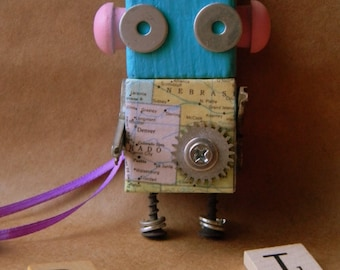Robot Ornament - Map Bot (Pink) - Upcycled Ornament - Hanging Decor by Jen Hardwick