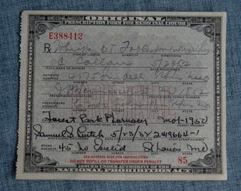 Vintage Prohibition Whiskey Prescription Pharmacy Medical Alcohol Rx Bar St. Louis, Mo 5/23/1932 Speakeasy