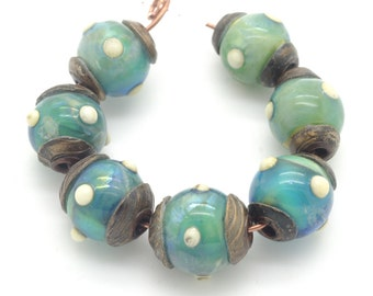 Lampwork Bead Set of Court Jester Beads in Blue