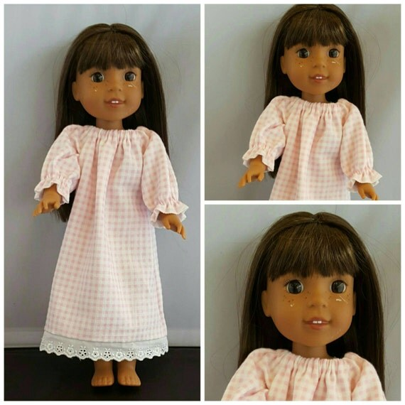 Pink and White Check Nightgown to fit Wellie Wisher Doll and Disney Toddler Doll