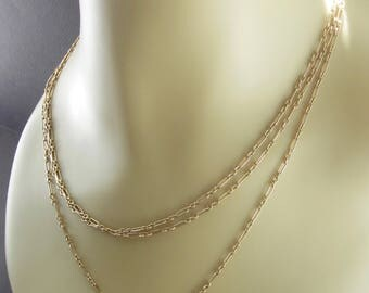 Antique Victorian Muff Chain/ Necklace Opera Length 55 Inches 9CT Gold
