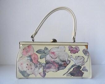Vintage Ivory Handbag OOAK Vintage 1950s Cream Decoupage Top Handle Handbag Summer Bridal Wedding Purse Structured Leather Handbag OOAK Bag