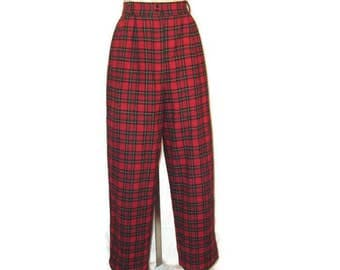 80s Tartan Pants Red Tartan Pants Red Plaid Pants High Waisted Pants 1980s Winter Pants Tartan Slacks Tartan Trousers Red Wool Pants
