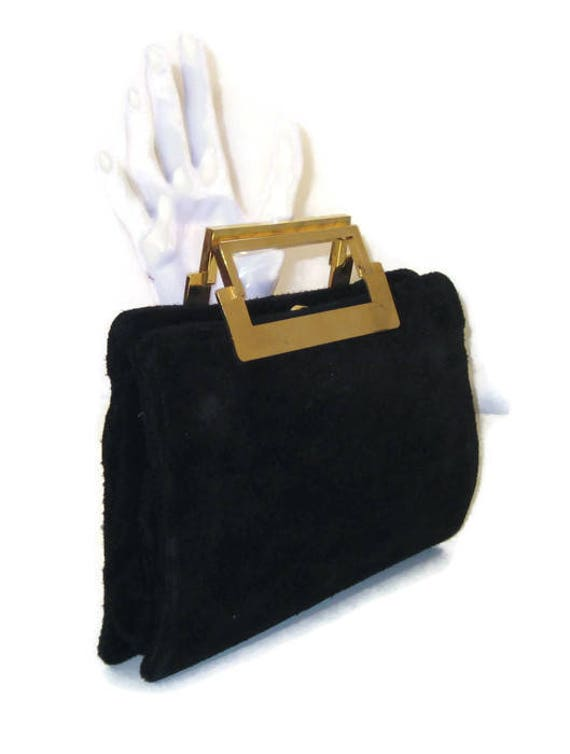 60s Suede Purse Black Suede Bag 1960s Suede Handbag Suede