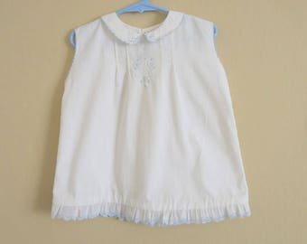 Baby Girl Summer Dress White Cotton Blue Hand Embroidery Lace Hem Hand Made size 2   722b