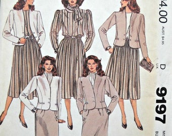 McCall's 9197 Jacket, Blouse, Skirts, and Scarf Pattern, Size 16, Factory Folded Uncut,  Vintage 1984